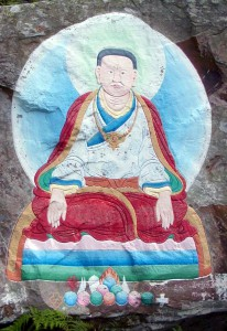 Traditional painting of Marpa the translator on Holy Isle, Firth of Clyde. From the collection of Sarah Lionheart.